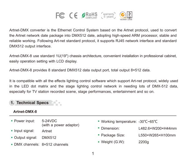 Artnet DMX Converter Artnet-DMX-8 DC 5V-24V LTECH LED