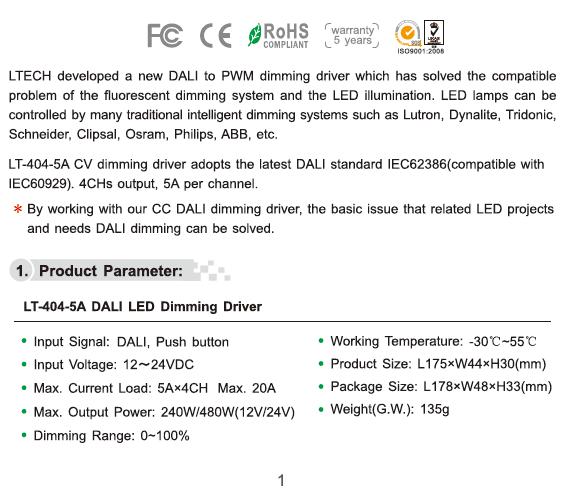 DALI Dimming Driver LT-404-5A 12V~24VDC LTECH LED
