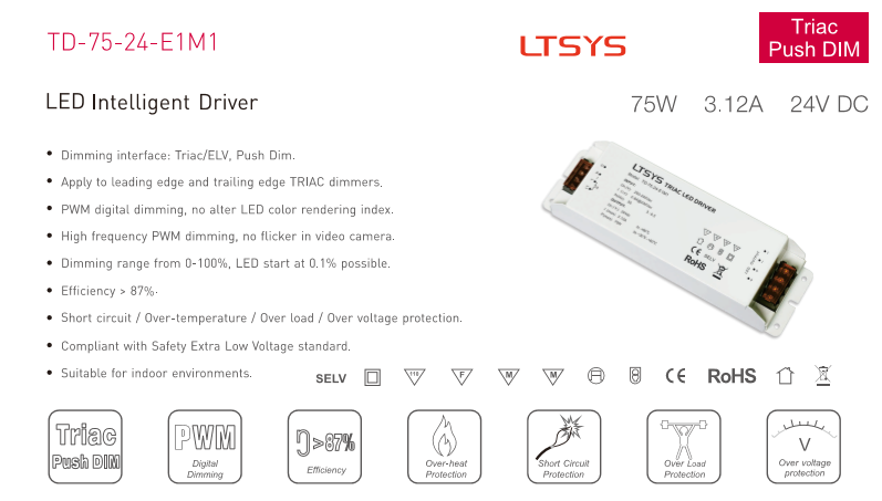 Lighting Accessories Ltech Td-75-24-e1m1 Intelligent Led Driver Dc 24v 3.1a 75w Constant Voltage Triac Dimmable Led Driver Triac Push Dim Free Ship